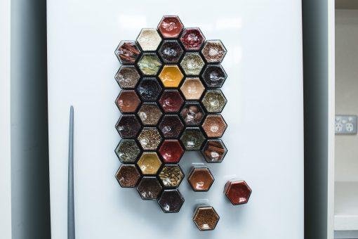 hexagonal spice jars