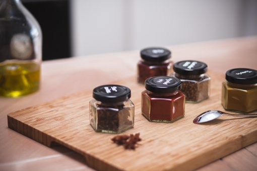 spice jars on table
