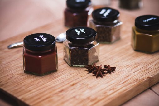 hexagonal jars with spices